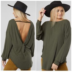 Free People Shimmy Shake Top Army Green Relaxed